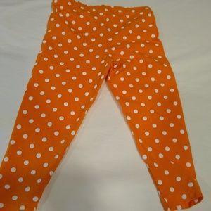 Carter's, Orange & White polka dot leggings
